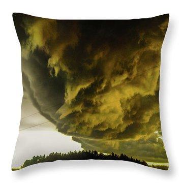 Nebraska Supercell, Arcus, Shelf Cloud, Remastered 018 Throw Pillow