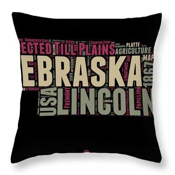Nebraska Word Cloud 1 Throw Pillow