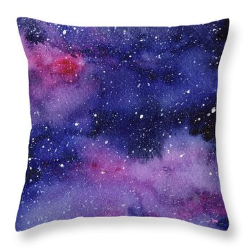 Nebula Watercolor Galaxy Throw Pillow