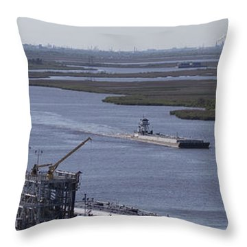 Neches River Shipping Industry Throw Pillow by D Wallace