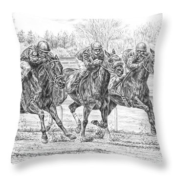 Neck And Neck - Horse Racing Art Print Throw Pillow