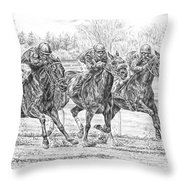 Neck And Neck - Horse Racing Art Print Throw Pillow by Kelli Swan