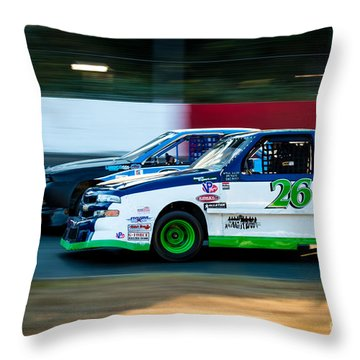 Neck And Neck In The Turn Throw Pillow