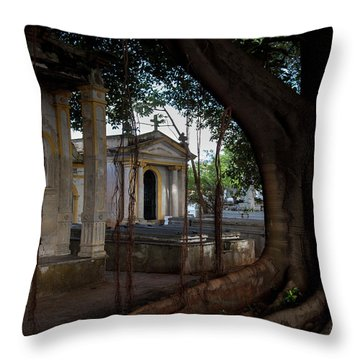 Throw Pillow featuring the photograph Necropolis Cristobal Colon Havana Cuba Cemetery by Charles Harden