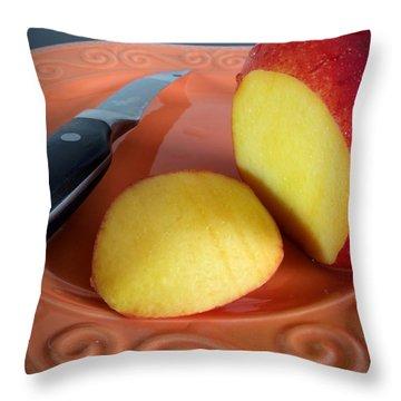 Nectarine On Plate Throw Pillow by Scott Kingery