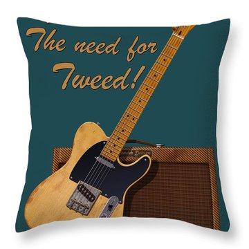Need For Tweed Tele T Shirt Throw Pillow