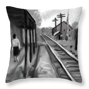 Needham Train Station 1959 Throw Pillow