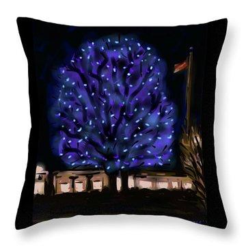 Needham's Blue Tree Throw Pillow by Jean Pacheco Ravinski