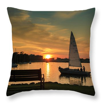 Throw Pillow featuring the photograph Neenah Harbor Sunset by Joel Witmeyer