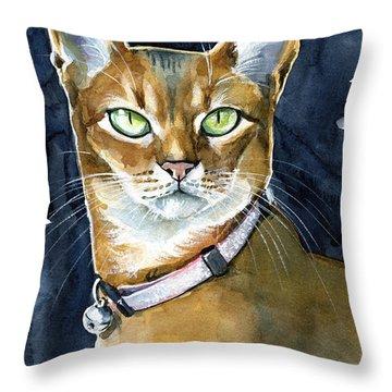 Nefertiti - Abyssinian Cat Portrait Throw Pillow