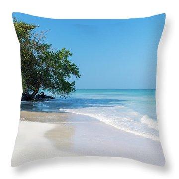 Negril Beach Morning Throw Pillow