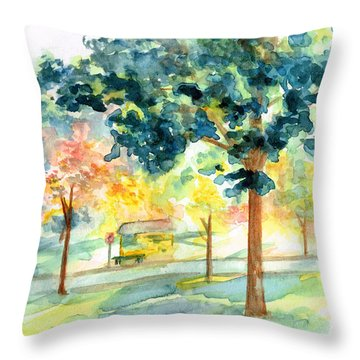 Throw Pillow featuring the painting Neighborhood Bus Stop by Andrew Gillette