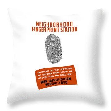 Neighborhood Fingerprint Station Throw Pillow by War Is Hell Store
