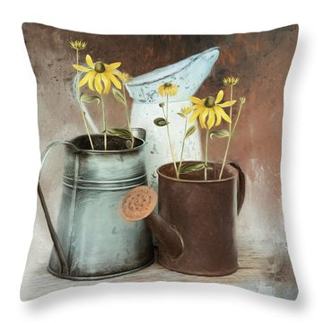 Throw Pillow featuring the mixed media Neighbors by Robin-Lee Vieira