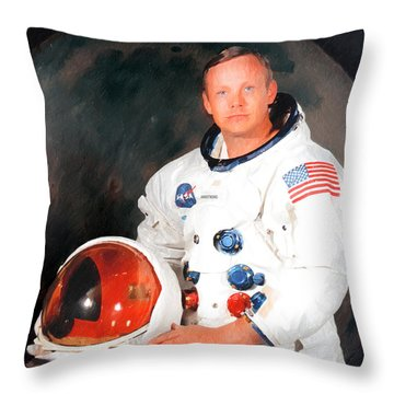 Neil Armstrong Throw Pillow by Ericamaxine Price