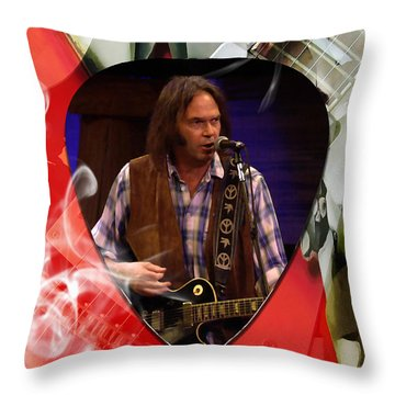 Neil Young Art Throw Pillow by Marvin Blaine
