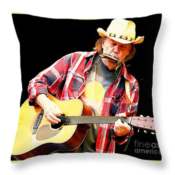 Neil Young Throw Pillow by John Malone