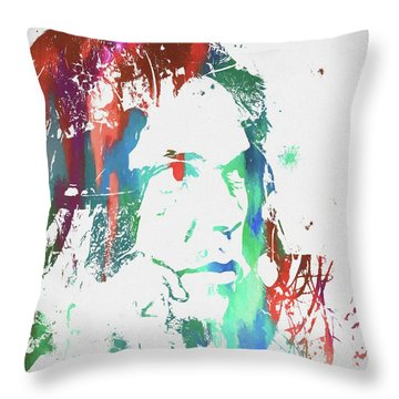Neil Young Paint Splatter Throw Pillow by Dan Sproul
