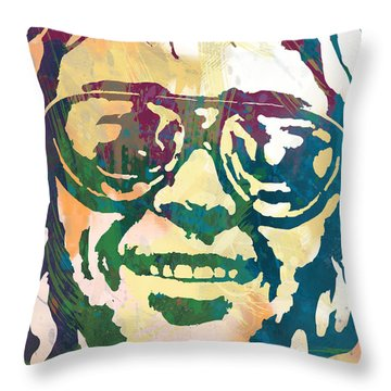 Neil Young Pop Stylised Art Poster Throw Pillow by Kim Wang