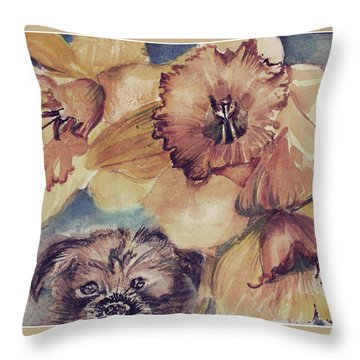 Throw Pillow featuring the painting Nellie Mae by Mindy Newman
