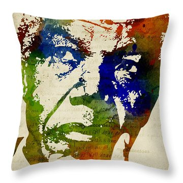Nelson Mandela Watercolor Throw Pillow by Mihaela Pater