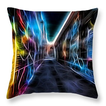 Throw Pillow featuring the photograph Neon Aleey by Michaela Preston