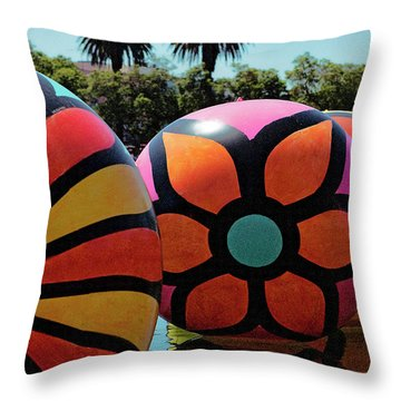 Throw Pillow featuring the photograph Neon Balls Of Macarthur Park by Lorraine Devon Wilke