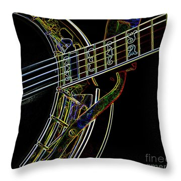 Neon Banjo  Throw Pillow by Wilma Birdwell