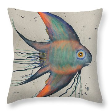 Throw Pillow featuring the mixed media Neon Blue Fish by Walt Foegelle
