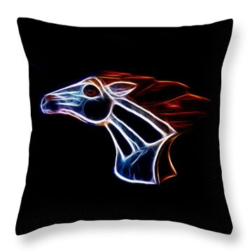 Neon Bronco II Throw Pillow by Shane Bechler