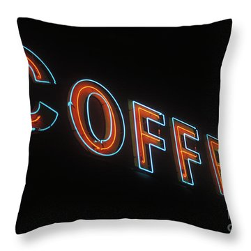 Throw Pillow featuring the photograph Neon Coffee by Jim and Emily Bush