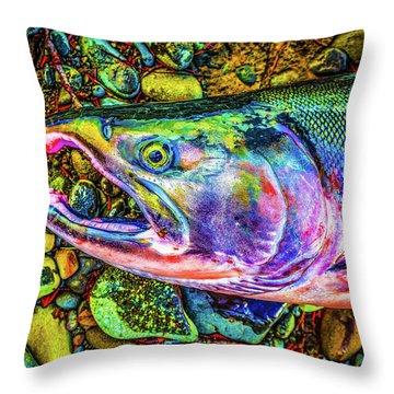 Neon Coho  Throw Pillow
