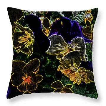 Neon Flowers Throw Pillow