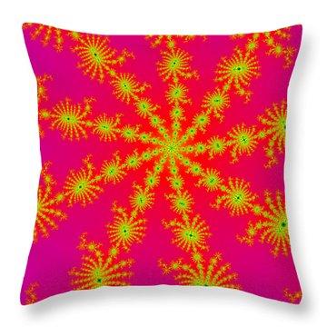 Neon Fractals Throw Pillow