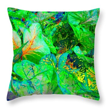 Throw Pillow featuring the photograph Neon Garden Fantasy 1 by Marianne Dow