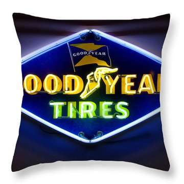 Neon Goodyear Tires Sign Throw Pillow by Mike McGlothlen