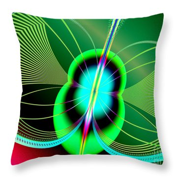 Neon Green And Blue Firefly Fractal 69  Throw Pillow by Rose Santuci-Sofranko
