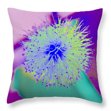 Neon Green Puff Explosion Throw Pillow