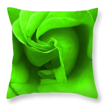 Neon Green Rose Throw Pillow by Robyn Stacey