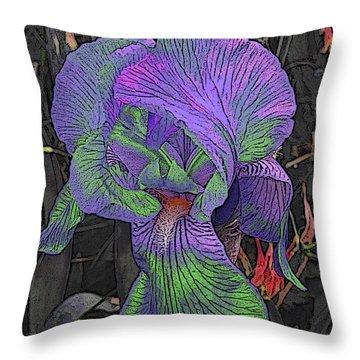 Neon Iris Dark Background Throw Pillow