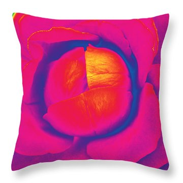 Neon Lettuce Rose Throw Pillow by Samantha Thome