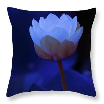 Neon Lotus Throw Pillow by Carolyn Dalessandro