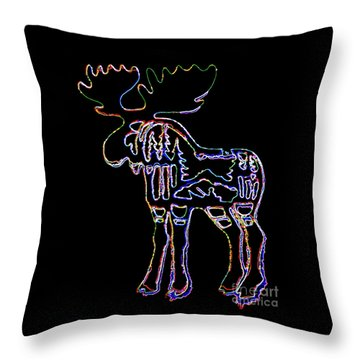 Neon Moose Throw Pillow