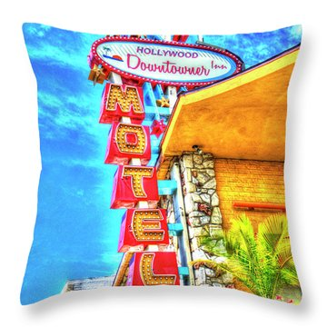 Neon Motel Sign Throw Pillow by Jim And Emily Bush