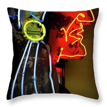 Neon Navajo Throw Pillow by David Patterson