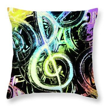Neon Notes Throw Pillow