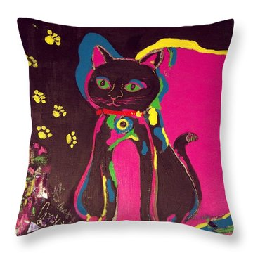 Neon Onyx Throw Pillow