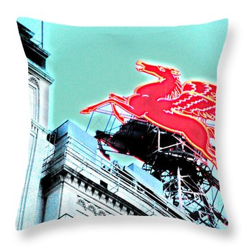 Neon Pegasus Atop Magnolia Building In Dallas Texas Throw Pillow