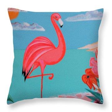 Neon Island Flamingo Throw Pillow