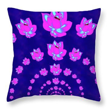 Neon Pink Lotus Arch Throw Pillow